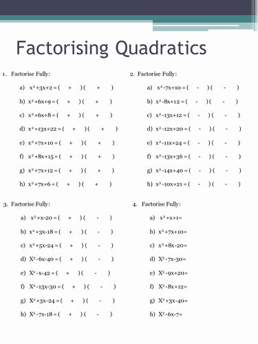 Factoring Quadratic Equations Worksheet Elegant Factoring Quadratic Equations Worksheet