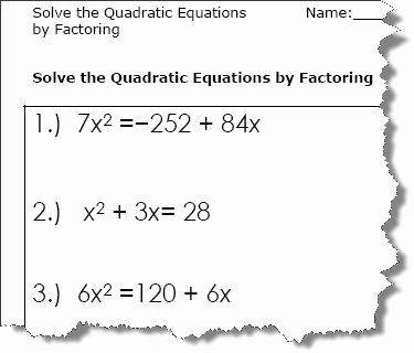 Factoring Quadratic Equations Worksheet Elegant Quadratic Equation Worksheets Printable Pdf Download
