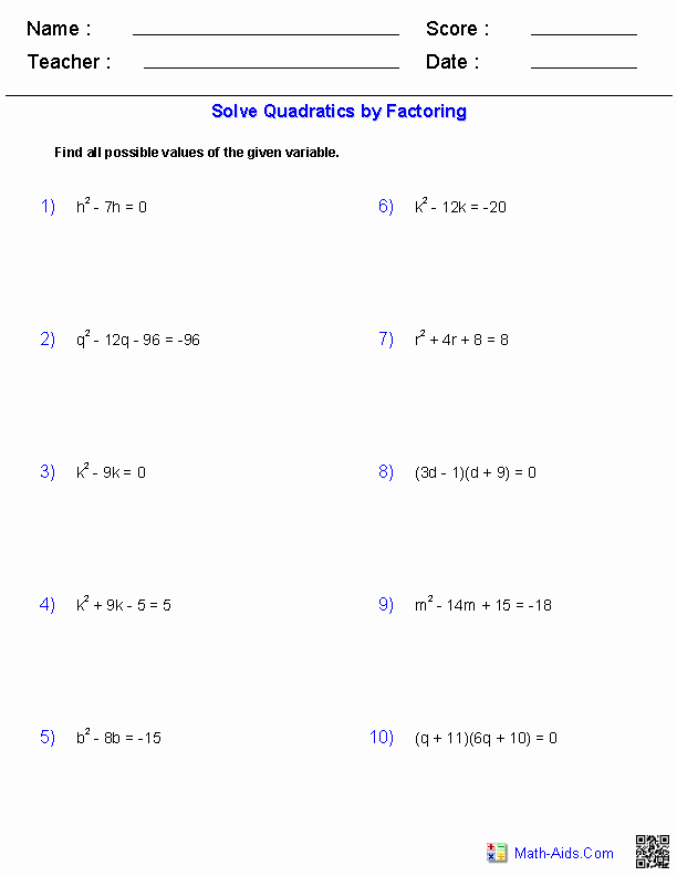 Factoring Quadratic Equations Worksheet Fresh Algebra 1 Worksheets