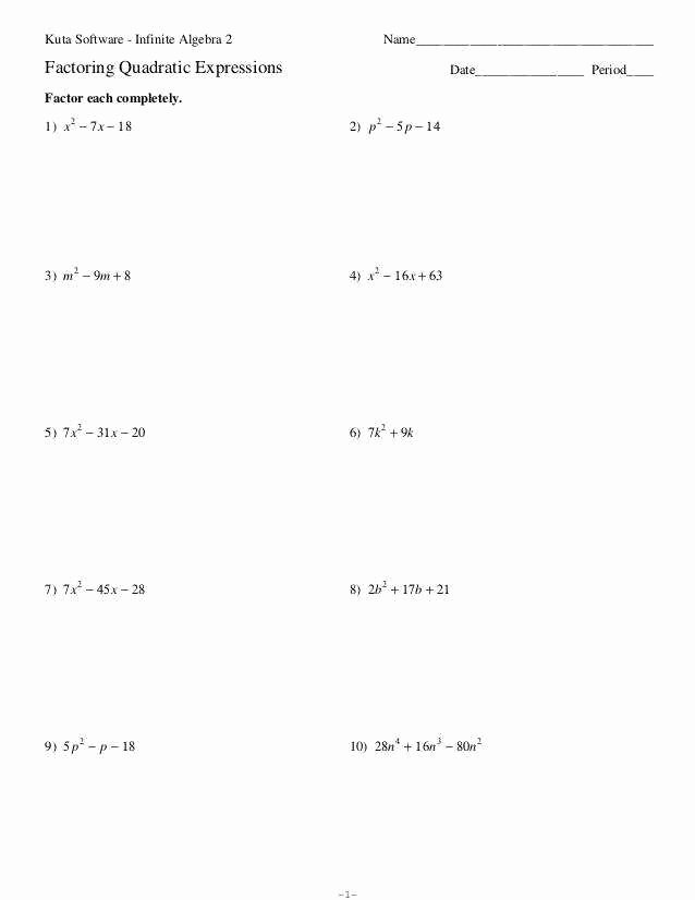 Factoring Quadratic Equations Worksheet Fresh solving Quadratic Equations by Factoring Worksheet