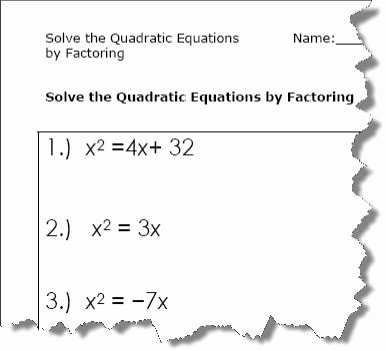 Factoring Quadratic Equations Worksheet New Quadratic Equation Worksheets Printable Pdf Download