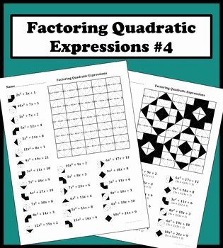 Factoring Quadratic Expressions Worksheet Awesome Factoring Quadratic Expressions Color Worksheet 4 by Aric