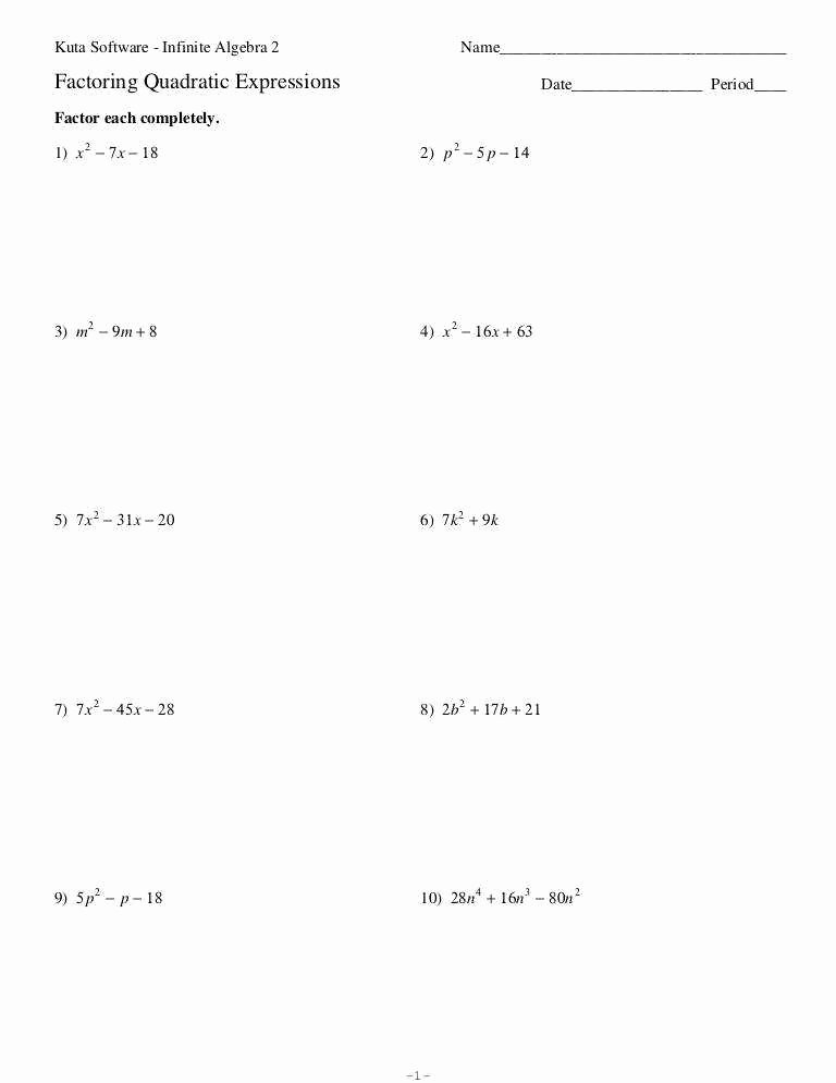 Factoring Quadratic Expressions Worksheet Beautiful Factoring Expressions Worksheet