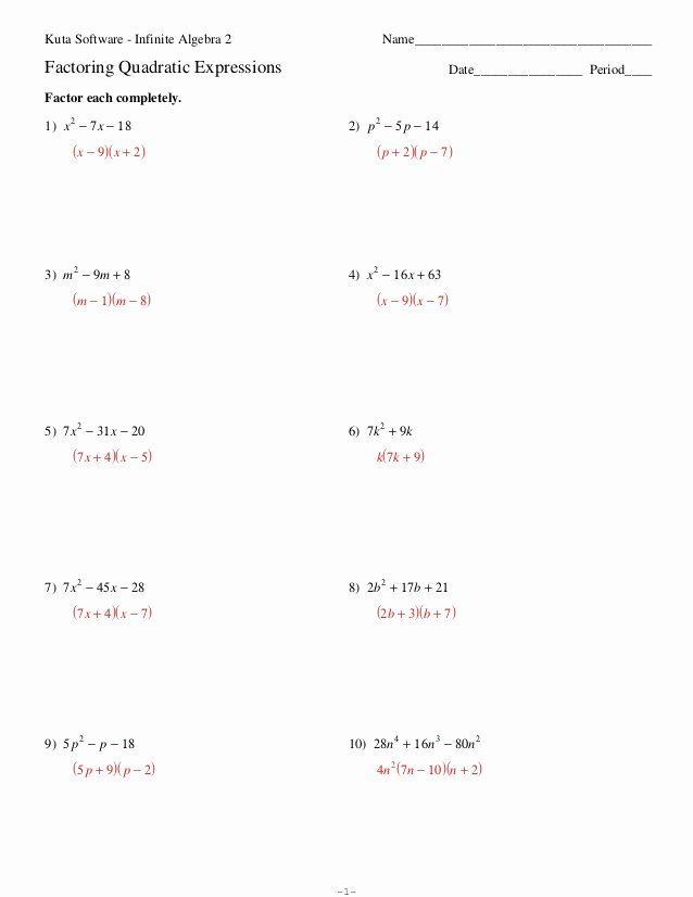 Factoring Quadratic Expressions Worksheet Fresh Factoring Quadratic Expressions