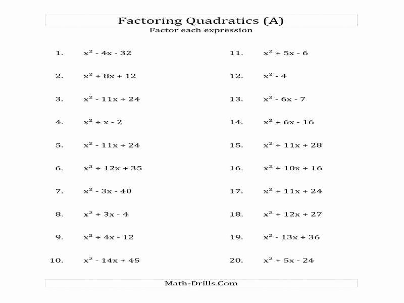 Factoring Quadratic Expressions Worksheet New Factor Trinomials Worksheet