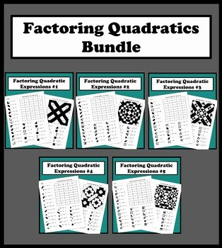 Factoring Quadratic Expressions Worksheet New Factoring Quadratic Expressions Color Worksheet Bundle by
