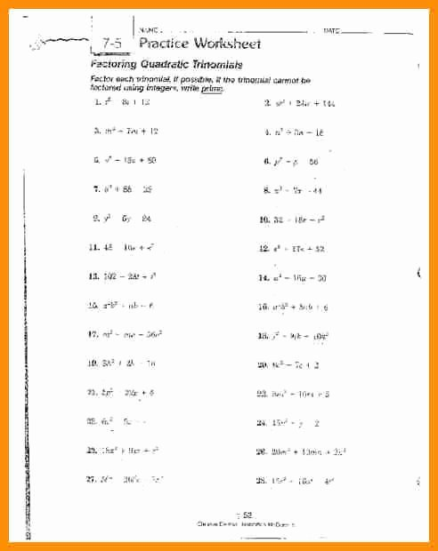 Factoring Quadratic Trinomials Worksheet Best Of Factoring Polynomials Worksheet with Answers