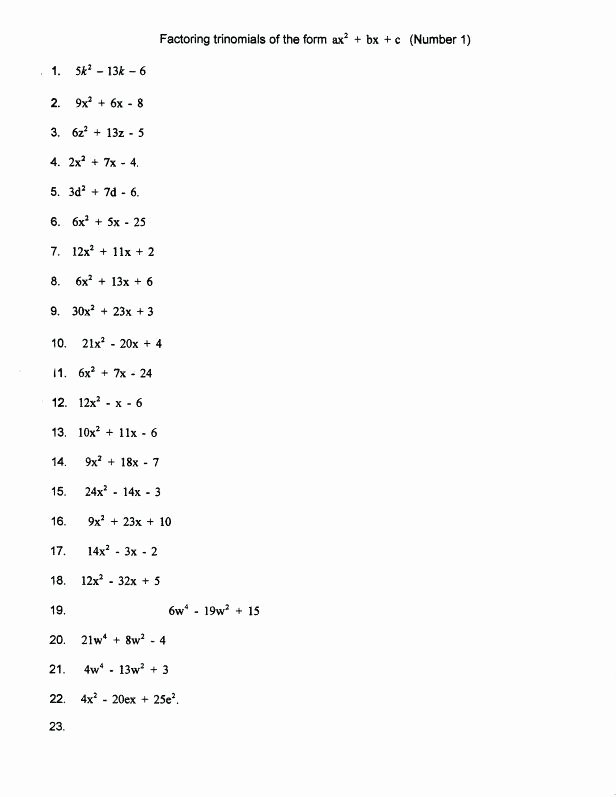 Factoring Quadratic Trinomials Worksheet Lovely 15 Factoring Trinomials Practice Worksheet