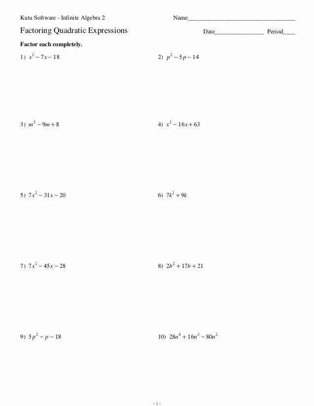 Factoring Quadratic Trinomials Worksheet Luxury Factoring Quadratic Expressions