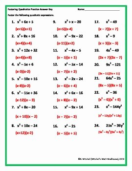 Factoring Quadratic Trinomials Worksheet Luxury Factoring Quadratic Trinomials Worksheet by Mitchell S