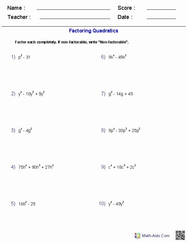 Factoring Special Cases Worksheet Beautiful 122 Best Images About Tutoring On Pinterest