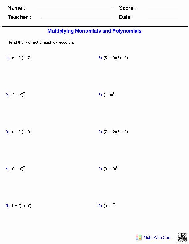 Factoring Special Cases Worksheet New Algebra 1 Worksheets