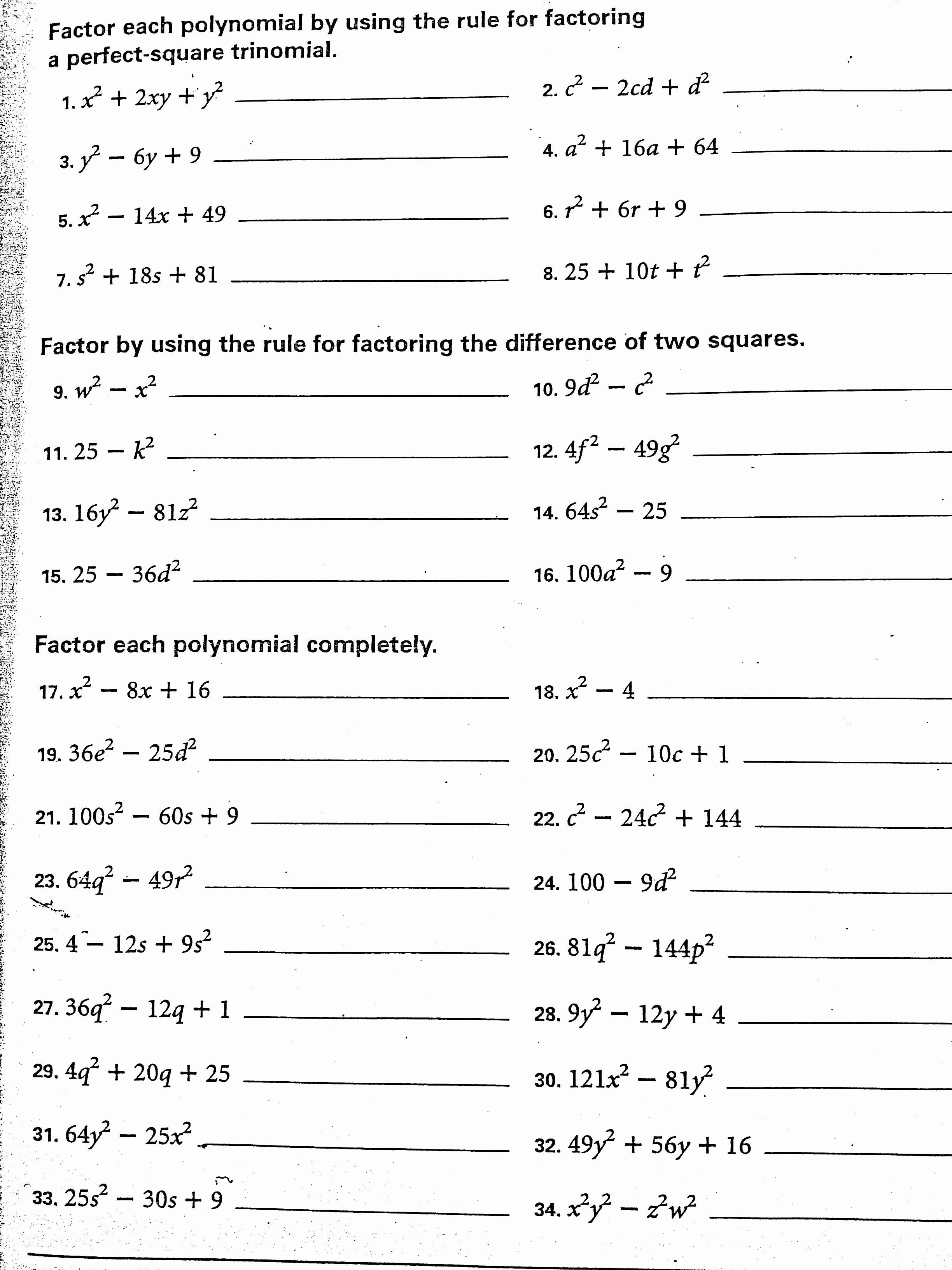 Factoring Special Cases Worksheet Unique Worksheet Factoring Quadratic Trinomials Part A