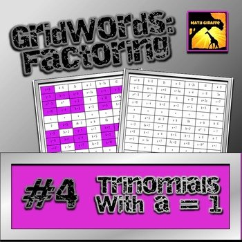 Factoring Trinomials A 1 Worksheet Beautiful Factoring Polynomials Gridwords 4 Trinomials with A