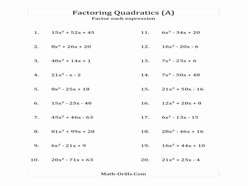 Factoring Trinomials A 1 Worksheet Beautiful Factoring Trinomials A 1 Worksheet Free Printable Worksheets