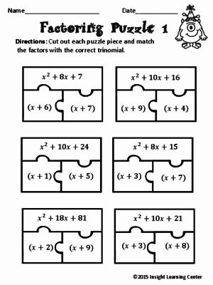 Factoring Trinomials Practice Worksheet Awesome Factoring Polynomials Puzzle