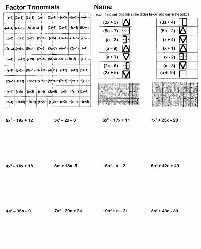 Factoring Trinomials Practice Worksheet Elegant 14 Best Of Factoring Review Worksheet Geometric