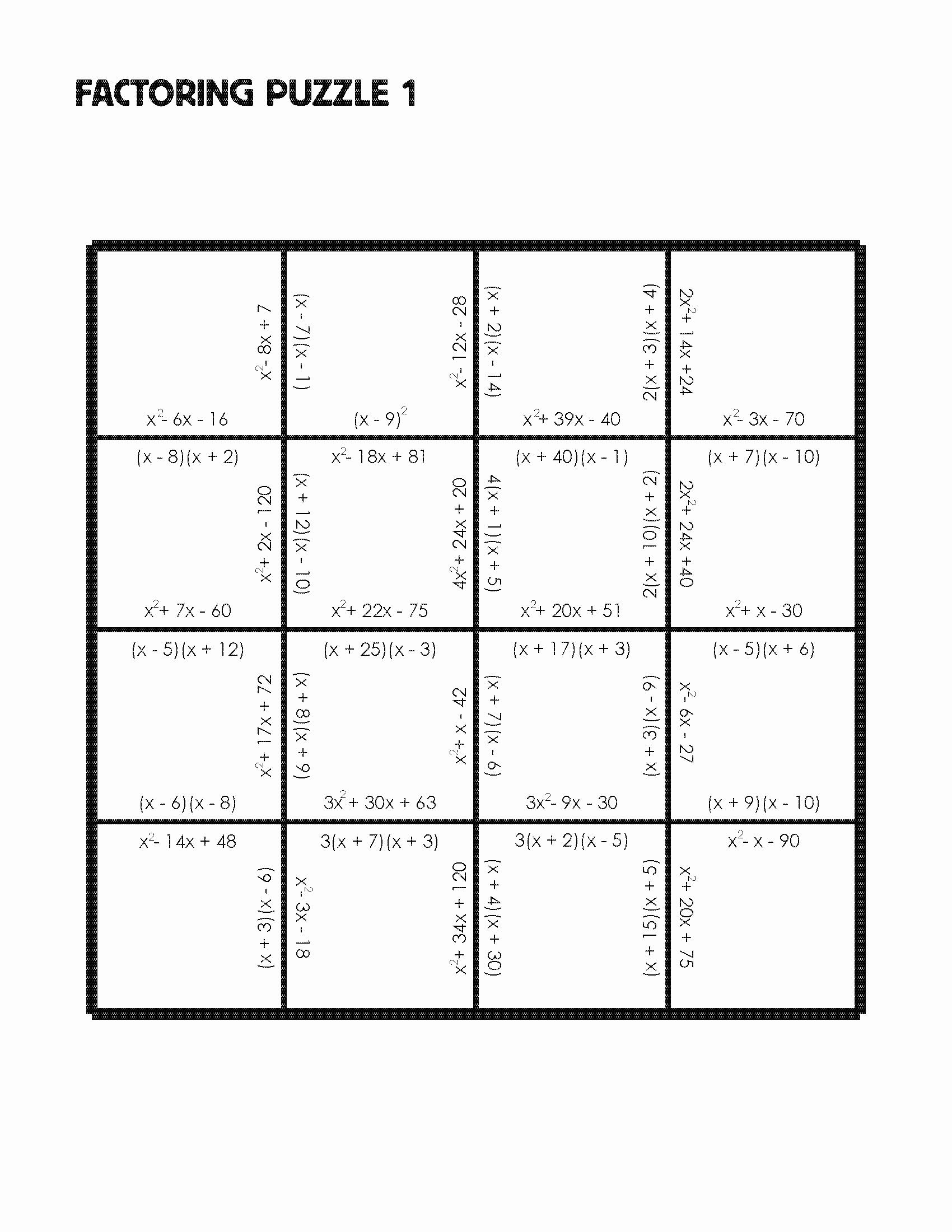 Factoring Trinomials Practice Worksheet Fresh Factoring Trinomials Worksheet Step by Step