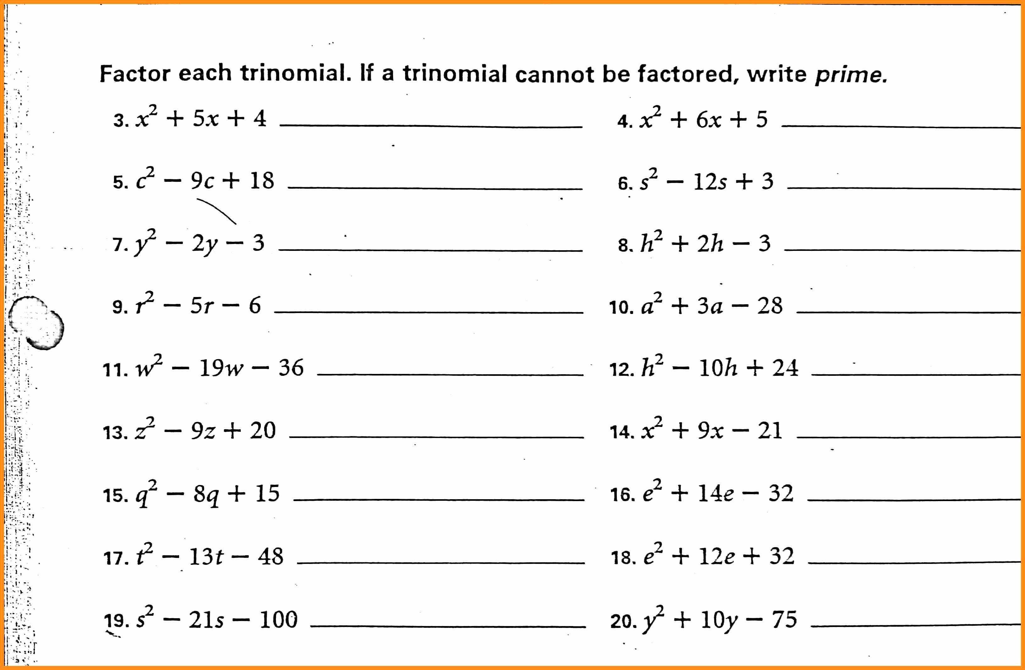 Factoring Trinomials Practice Worksheet Lovely 56 Factoring Polynomials Worksheet Pdf Factoring