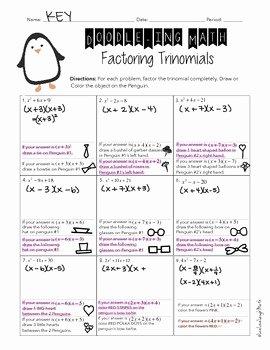 Factoring Trinomials Practice Worksheet New Factoring Trinomials Worksheet Doodle Ing Math by
