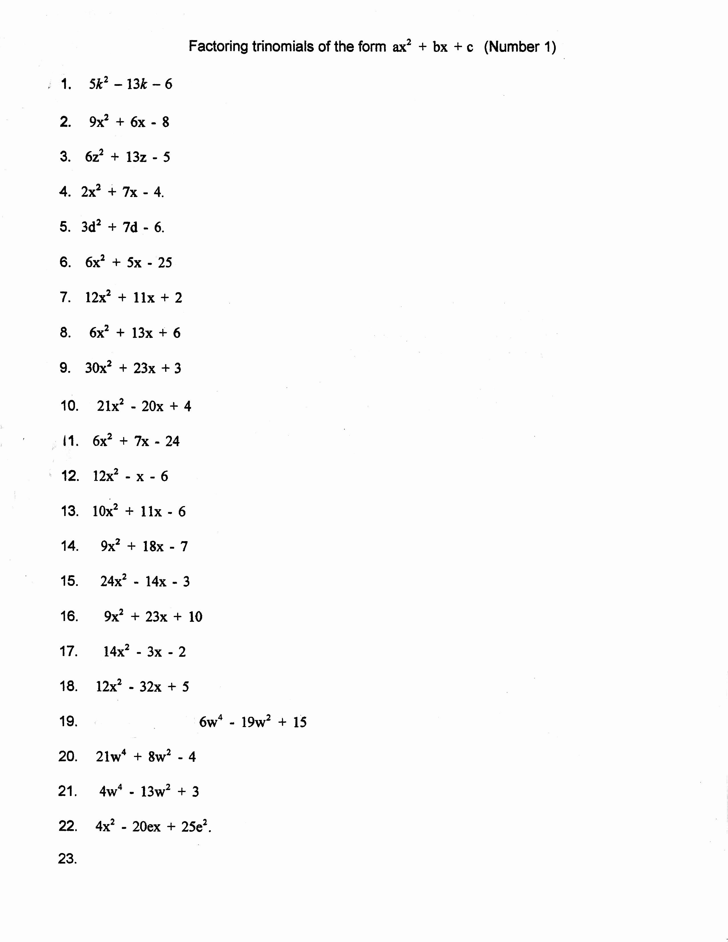 Factoring Trinomials Practice Worksheet Unique Factoring Trinomials Trial and Error Worksheet