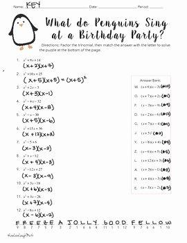 Factoring Trinomials Worksheet Algebra 2 Awesome Factoring Trinomials Worksheet Easy by Elizabeth Graves