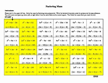 Factoring Trinomials Worksheet Algebra 2 Unique Factoring Maze by Moore Mathematics