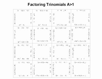 Factoring Trinomials Worksheet Answer Key Awesome Factoring Trinomials A 1 or Multiplying Binomials Fun