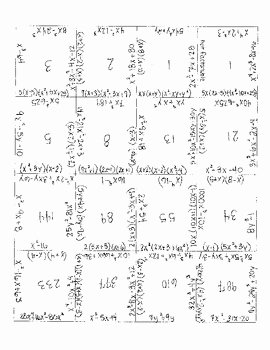Factoring Trinomials Worksheet Answer Key Beautiful Factoring Polynomial Puzzle by Alexandra Davis