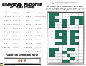 "Factoring Trinomials Worksheet Answer Key Beautiful Factoring Polynomials ""gridwords"" 7 Mixed Practice by"