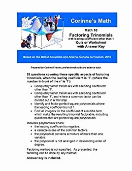 Factoring Trinomials Worksheet Answer Key Best Of Amazon Math 10 Factoring Trinomials with A Leading