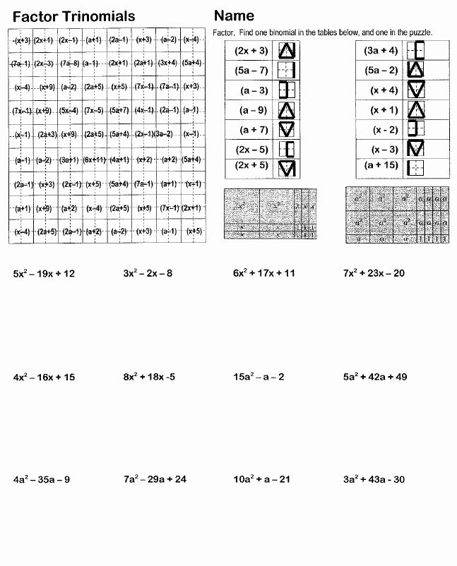 Factoring Trinomials Worksheet Answer Key New Search and Shade Worksheets Hoppe Ninja Math – Teacher Blog