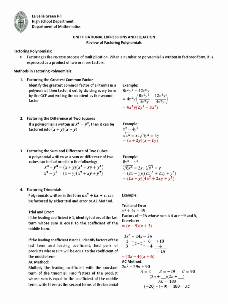 Factoring Trinomials Worksheet Answer Key Unique Worksheet Factoring Trinomials Factor the Following