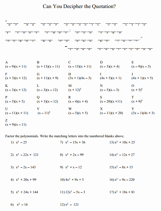 Factoring Trinomials Worksheet Answers Best Of Puzzle Factoring Trinomials – Denise Gaskins Let S Play Math