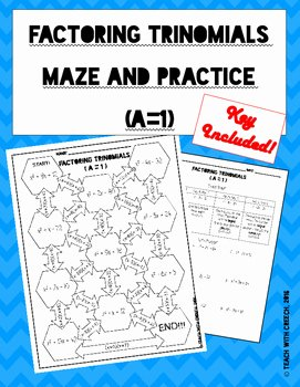 Factoring Trinomials Worksheet Pdf Awesome Factoring Trinomials A=1 Maze and Worksheet by Secondary