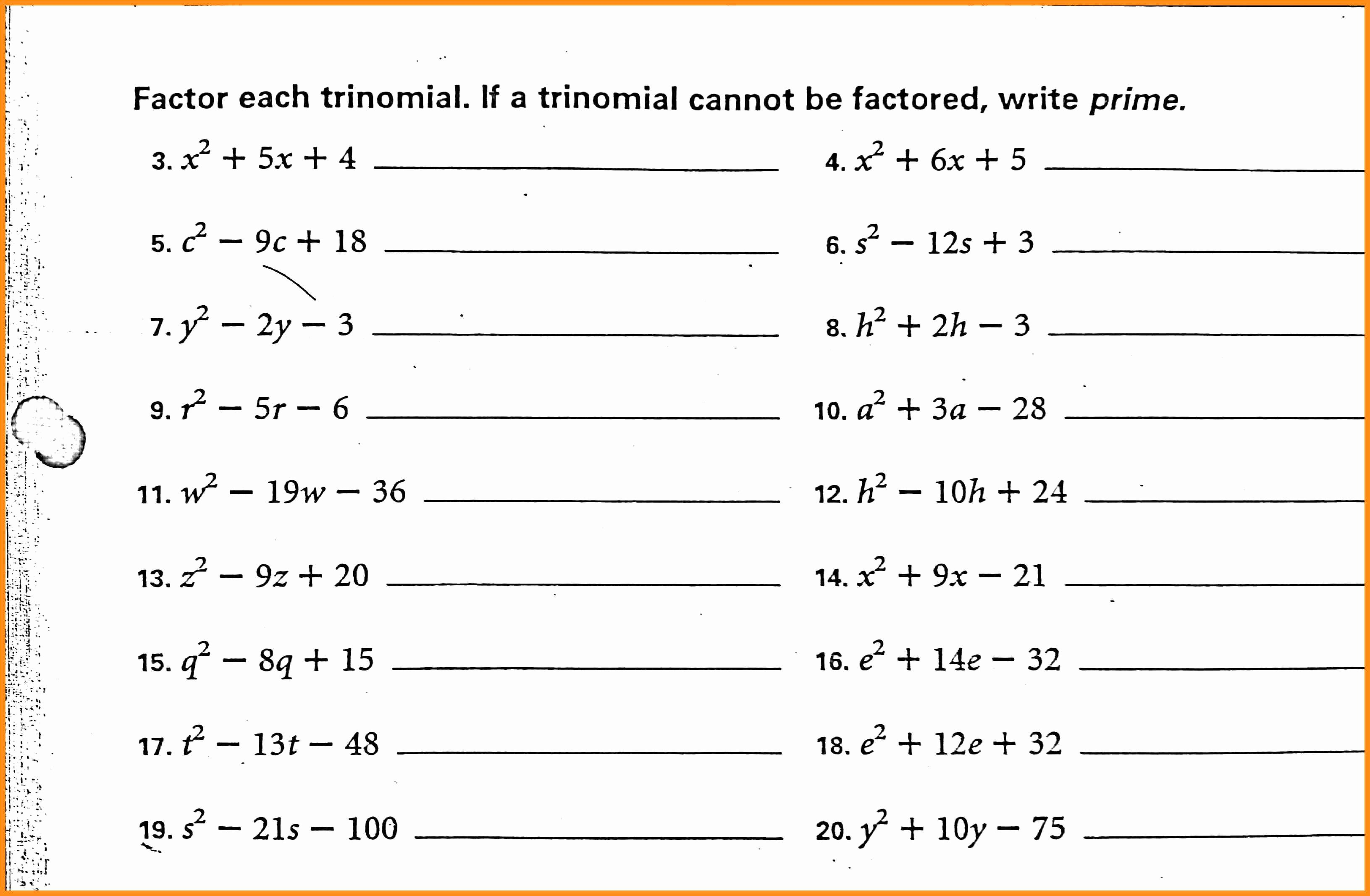 Factoring Trinomials Worksheet Pdf Elegant 56 Factoring Polynomials Worksheet Pdf Factoring