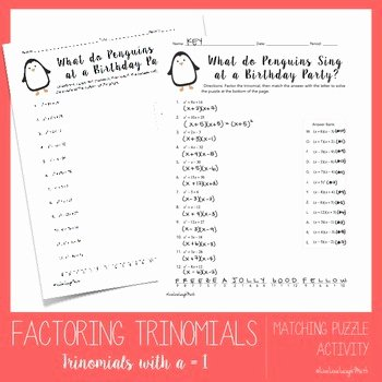 Factoring Trinomials Worksheet Pdf Elegant Factoring Trinomials Worksheet Easy by Elizabeth Graves