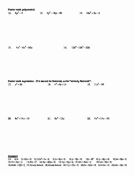 Holt Algebra Chapter 8 Factoring Polynomials Review Worksheet DOC PDF