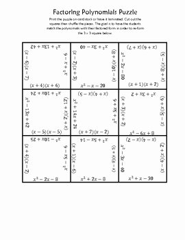 Factoring Trinomials Worksheet Pdf Unique Factoring Polynomials Square Puzzle by Jaquelyn Wolford