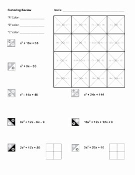 Factoring Worksheet Algebra 1 Elegant Algebra Factoring Review Co by Middle School Math