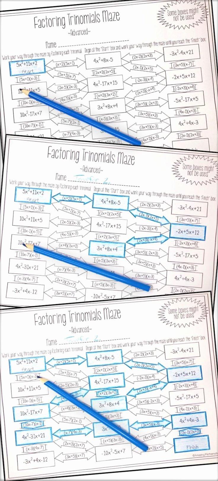 Factoring Worksheet Algebra 1 Lovely Factoring Polynomials Trinomials Maze Advanced