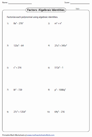 Factoring Worksheet Algebra 1 Luxury Factoring Polynomial Worksheets