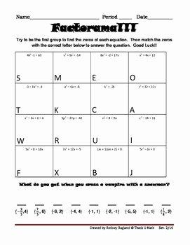 Factoring Worksheet Algebra 1 New Factorama solving Quadratic Equations and by Teach U
