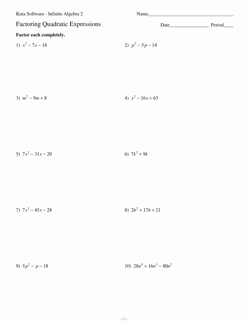 Factoring Worksheet Algebra 1 New Factoring Quadratic Expressions