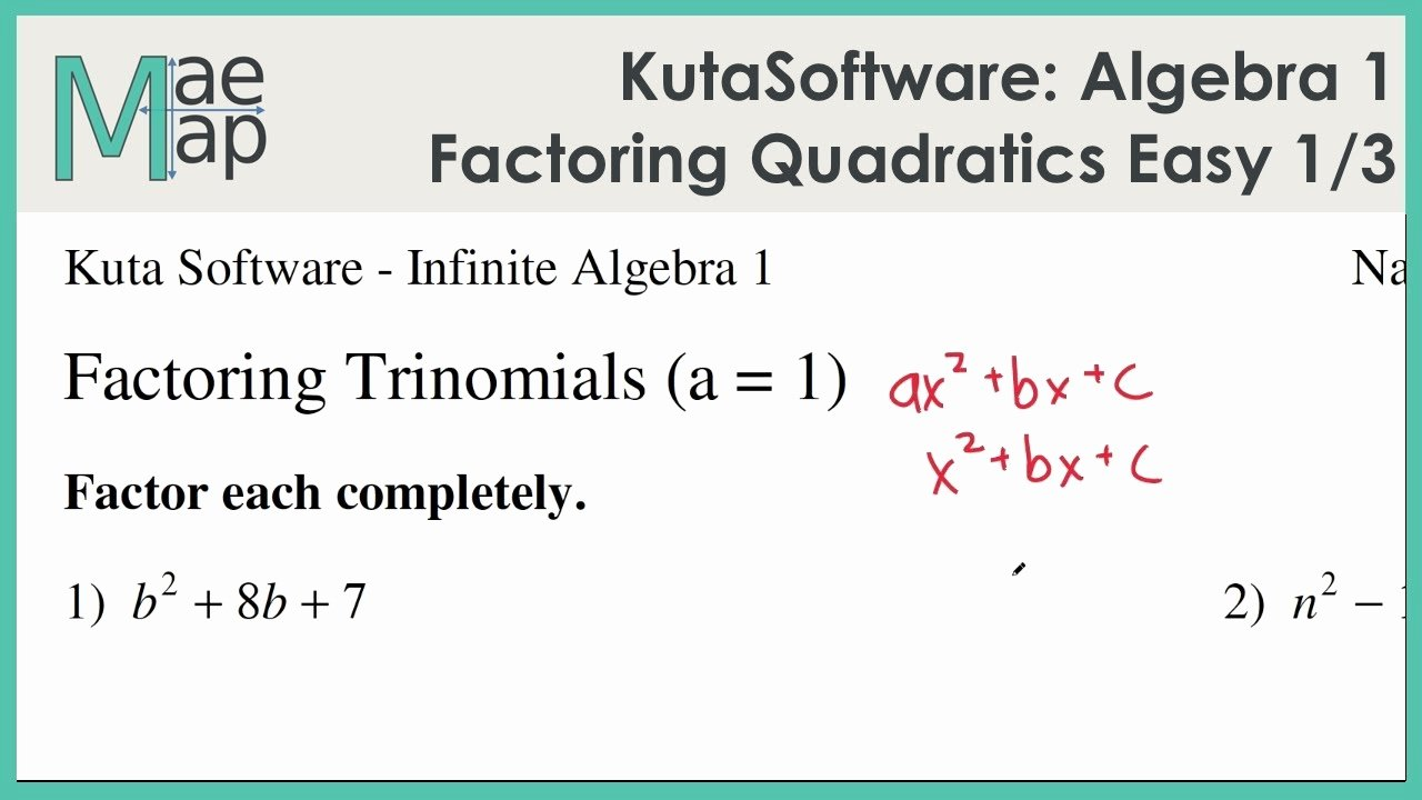 Factoring Worksheet Algebra 1 Unique Kutasoftware Algebra 1 Factoring Quadratic Polynomials