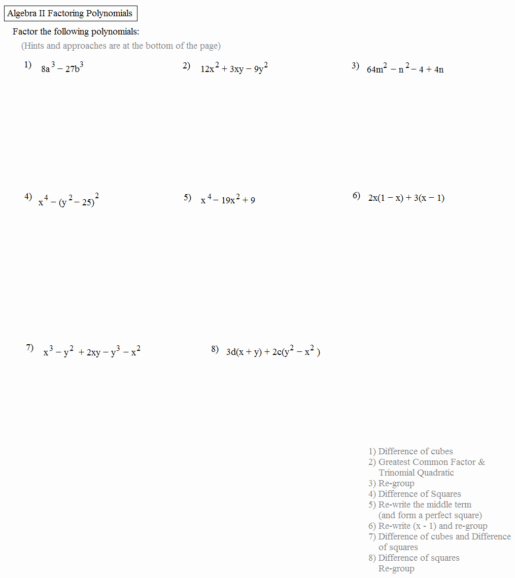 Factoring Worksheet Algebra 2 Awesome Math Plane Algebra Ii Review 1