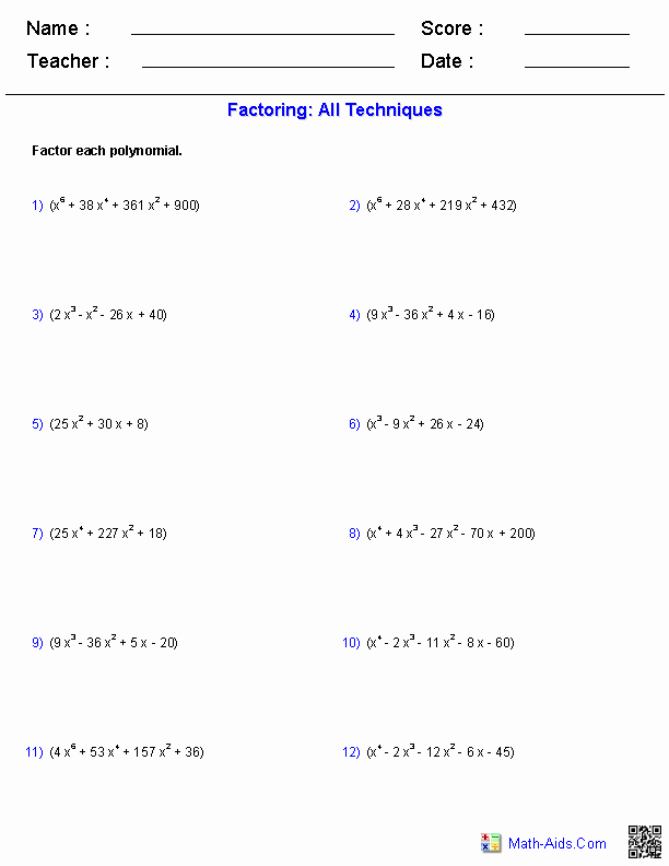 Factoring Worksheet Algebra 2 Best Of Algebra 2 Worksheets