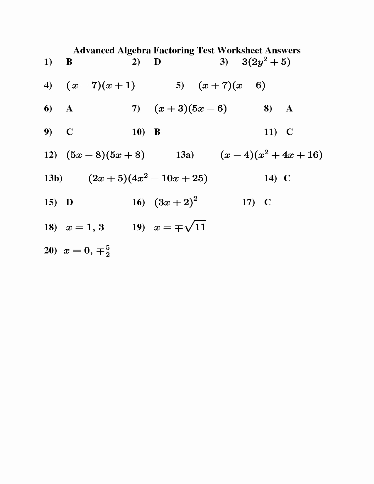 Factoring Worksheet Algebra 2 Fresh 11 Best Of Factoring Worksheets Algebra Ii
