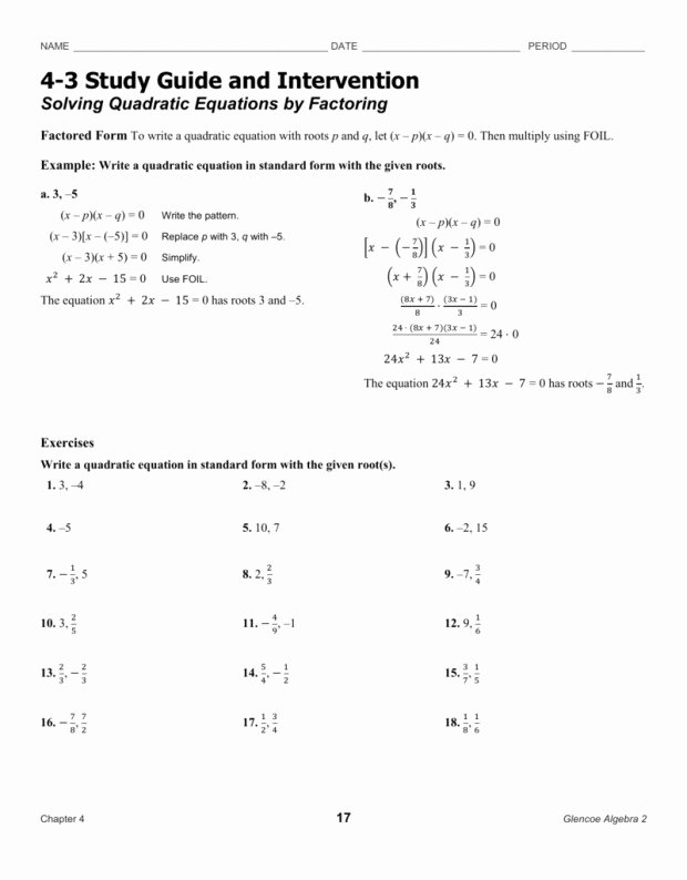 Factoring Worksheet with Answers Beautiful 4 3 Skills Practice solving Quadratic Equations by