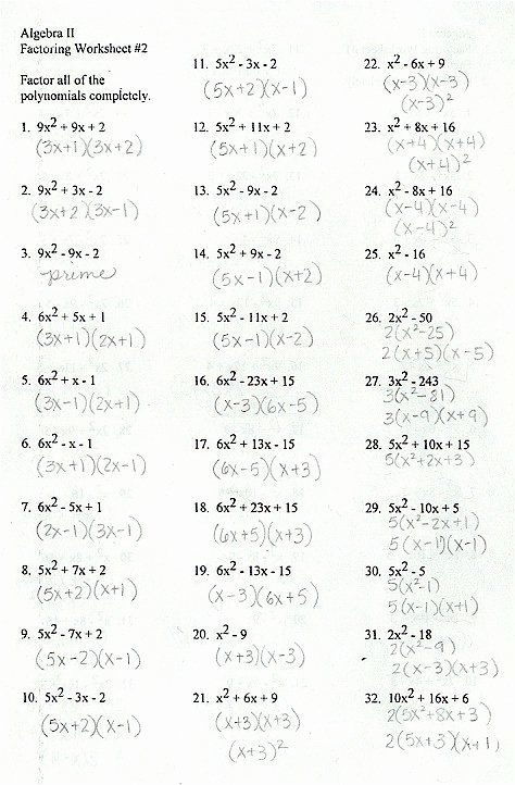 Factoring Worksheet with Answers Beautiful Factoring General Trinomials